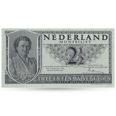 Bankbiljet Juliana 2,5 gulden 1949 UNC